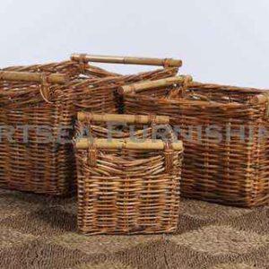 Rectangle storage basket with rattan handle