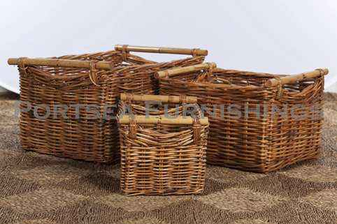 Rectangle storage basket with rattan handle
