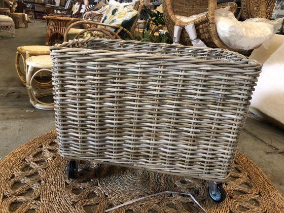 Rectangle Basket on Wheels - Antique Grey